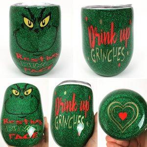 Custom Grinch Glitter Tumbler 12 Oz Wine Cup